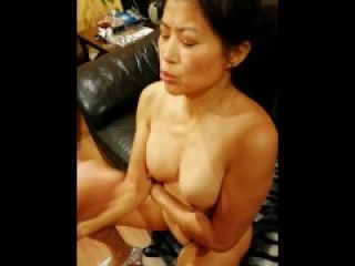 ASIAN SLUT WIFE TAKING CUM SHOT ON SMALL TITS