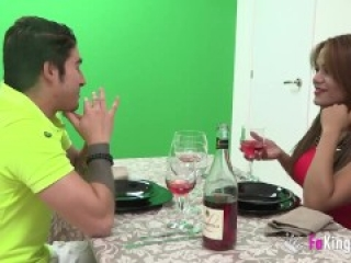 Sasha fucks her date and the waiters for diner