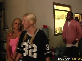 Britney Young enjoys interracial gangbang