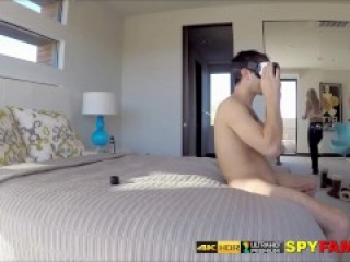 Big Tits Milf Catches Son Wanking To VR Porn