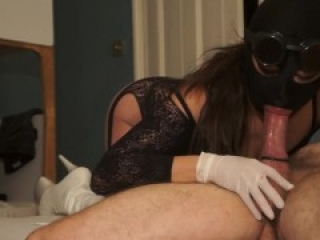 Latex gloves fetish hood blowjob