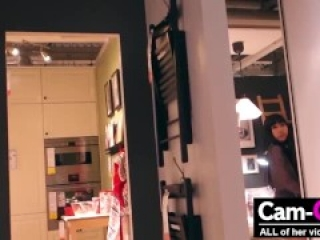 Asian girl fucks her ass with dildo everywhere in Ikea - Crazy!!!