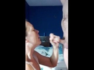 Swallowing hubby's cum after night with two dates