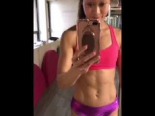 Asian girl with abs