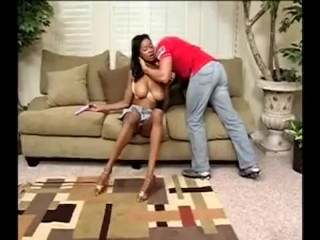 Teen ebony with big natural tits fucked on first date